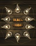 Brown vector wooden background with light bulbs. Royalty Free Stock Images