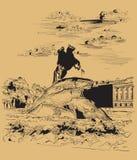 Brown-Vektorhand, die St Petersburg 3 zeichnet stock abbildung