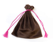 Brown velvet bag Royalty Free Stock Images