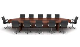 Brown-Versammlungstisch mit den schwarzen Stühlen getrennt Lizenzfreies Stockbild