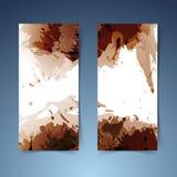 Brown vertical modern banner paint splatter Stock Image