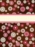 Brown vertical retro banner with pink flowers. 1960's/1970's retro banner in saturated colors. Graphics are grouped and in several layers for easy editing. The Royalty Free Stock Photography
