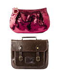 Brown vintage briefcase and pink glitter hand bag Stock Images