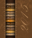 Brown vintage 2015 calendar. Background Stock Photography