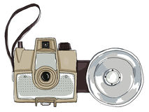 Brown vintage camera with flash Royalty Free Stock Images