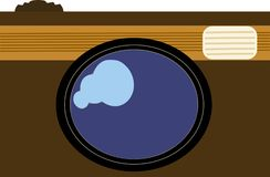 Brown vintage camera vectorized icon Stock Images