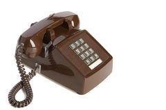 Brown Vintage Desk Phone. Old Brown Desk Phone viewed at an angle Stock Images