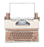 Brown Vintage Electric Typewriter Royal Academy Typewriter. With paper hand drawn cute art vector illustration stock illustration