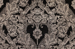 Brown vintage fabric with damask pattern as background Stock Photo