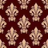 Brown vintage fleur-de-lis floral pattern Royalty Free Stock Photo