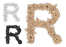 Brown vintage floral uppercase letter R Stock Images