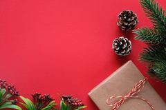 Brown vintage gift box and ornament on red background with copy space, Christmas, new year, valentine`s day and anniversary. Greeting card background royalty free stock photography