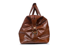 Brown vintage leather bag Stock Images