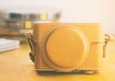 Brown vintage Leather camera case closed up Royalty Free Stock Photos