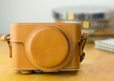 Brown vintage Leather camera case Royalty Free Stock Images