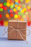 Brown vintage paper gift box with string bow Royalty Free Stock Photos