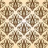Brown vintage pattern on a beige background. Curves lines (seamless texture Stock Illustration