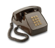 Brown vintage phone, isolated Royalty Free Stock Image