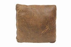Brown vintage pillow isolated on white Royalty Free Stock Photo