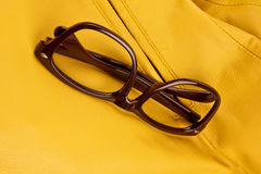 Brown vintage plastic eyeglasses Royalty Free Stock Image