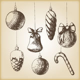 Brown vintage sketch - Christmas hand drawn ornaments. Vector - brown vintage sketch - Christmas hand drawn ornaments Stock Images