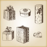 Brown vintage sketch - hand drawn gift boxes. Brown vintage sketch - vector hand drawn gift boxes Stock Photography