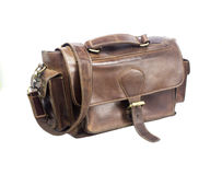 Brown vintage valise isolated on a white Stock Images