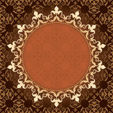Brown vintage vector background with gold frame Stock Images