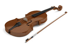 Brown violin with bow isolated on white Stock Photos