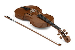 Brown violin with bow isolated on white Royalty Free Stock Photo