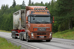 Brown Volvo FH Semi Tank Truck for Chemical Transport Royalty Free Stock Photo