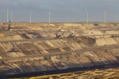 Brown węgiel - Odkrywkowy kopalnictwo Garzweiler (Niemcy) Zdjęcia Royalty Free