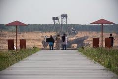 Brown węgiel otwarty - lany górniczy hambach Germany terra nowa zdjęcie stock