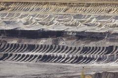 Brown węgiel - warstwy ziemia przy odkrywkowym kopalnictwem Garzweiler Niemcy Obraz Stock