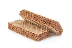Brown wafers stick on white Royalty Free Stock Images