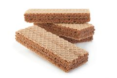 Brown wafers stick on white Royalty Free Stock Image