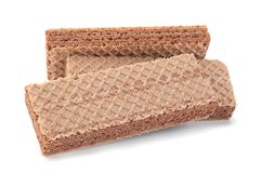 Brown wafers stick on white Royalty Free Stock Photos