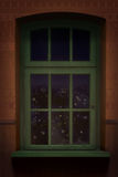Brown wall and green wooden window background Stock Photos