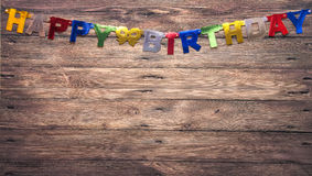 Brown wall with the inscription Happy Birthday Royalty Free Stock Images
