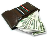 Brown wallet 1. Brown leather wallet with lot of money Stock Images