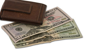 Brown Wallet with Cash Royalty Free Stock Photos