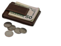 Brown Wallet with Cash and Coin Stock Images