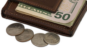 Brown Wallet with Cash and Coin Royalty Free Stock Images