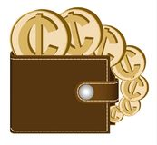 Brown  wallet with cedi coins. On a white background , currency in the wallet,sign and symbol currency in the form of coins,design concept color Stock Photos