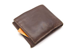 Brown wallet and credit card stock images