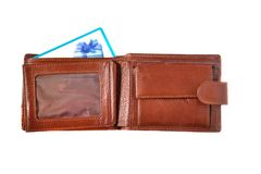 Brown wallet with discount card Stock Images