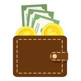 Brown Wallet Flat Icon Isolated on White Stock Photo