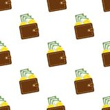 Brown Wallet Flat Icon Seamless Pattern Royalty Free Stock Photography