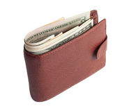 Brown wallet with money Royalty Free Stock Photo