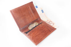 Brown wallet with money Stock Photos